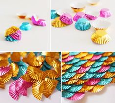 "Use foil cups to make a ""mermaid scale"" backdrop!-This would also work for a table runner. Looks like scales on a fish or mermaid's tail. Ideal DIY decor for a mermaid or under the sea themed birthday party or baby shower"