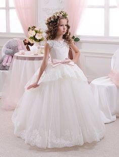 Elfenbein Spitze Blumenmädchen Kleid - Urlaub Hochzeitsfest Brautjungfern Geburtstag Elfenbein Tulle Spitze Blumenmädchen Kleid