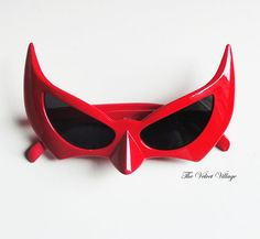 bright RED & black retro 80s Deadly by TheVelvetVillage on Etsy, $28.00