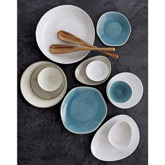 lovely organic blue naxos dinnerware in dinnerware | CB2 $7/plate. mix nicely with more modern shapes/colors