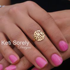 Hand Cut Monogram Midi Ring - Initials Ring - Customize It With Your Initials - 10K/14K Solid Gold, Silver or 14k Goldfilled