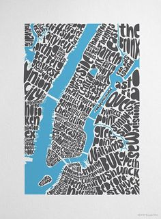 One of the things that Paula Scher enjoys in her spare time is making maps in this sort of style. Writing the locations of places on a map as a means of design. In a cluttered way like other works from her. Capturing a fun feel of New York with her hand written type.