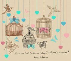 Hintergrund mit Käfigen und Vögel