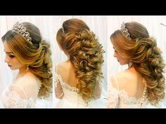 Свадебная прическа на длинные волосы Греческая коса Wedding hairstyle for long hair - YouTube