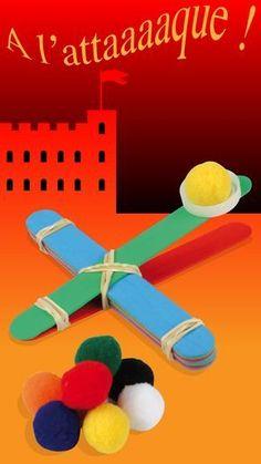 Catapulte en bâtonnets : Activité facile pour les enfants en bâtonnets de bois ou bâtons d'esquimaux. #bâton #ludique #bricolage