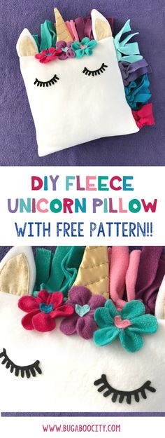 # Fleece Unicorn Pillow with Free Pattern Create a DIY Fleece Unicorn Pillow with this easy to tutorial and free pattern! This pillow has a colorful fleece mane, gold horn and fleece flowers! Sewing Hacks, Sewing Tutorials, Sewing Crafts, Sewing Patterns, Sewing Tips, Knitting Patterns, Pillow Patterns, Sewing Ideas, Crochet Patterns