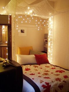 Lighted Bed Canopy - great and romantic idea. I just love it!!!!! Might have to learn how to make a quilt.