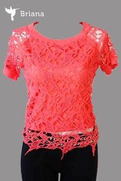 Hermosa #blusa#color #coral de encaje #femenina y #romantica