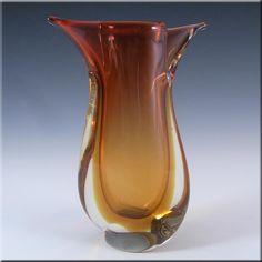 Murano/Venetian Red & Amber Sommerso Glass Vase #2 - £40.00 …