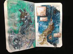 154 of 365 by mitografia Artist Sketchbook, Sketchbook Drawings, Cool Drawings, Art Sketches, Notebook Art, Alien Art, Sketchbook Inspiration, Drawing Tutorials, Art Inspo