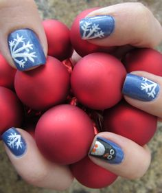 Christmas Holiday Snowflake and Penguin nail DIY