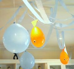 Some good fish party ideas from.. Karo's Fun Land: Daniel's Goldfish Birthday Party