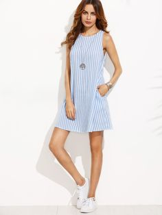 Fabric: Fabric has no stretch Season: Summer Type: Tank Pattern Type: Striped Sleeve Length: Sleeveless Color: Blue Dresses Length: Short Style: Casual Material: Cotton Neckline: Round Neck Silhouette: Shift Shoulder(cm): Bust(cm): Length(cm): Linen Dresses, Cotton Dresses, Cute Dresses, Casual Dresses, Short Dresses, Casual Outfits, Sleeveless Dresses, Look Fashion, Fashion Clothes