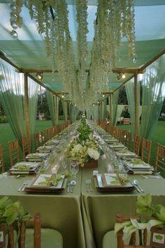 outdoor wedding dinner reception table setup