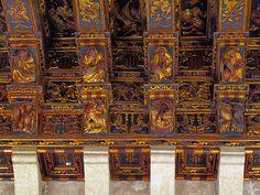 Fabulous carved wood ceilings, the Silk Market (Lonja de la Ceda), Valencia, Spain