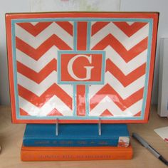 G rouge chevron monogram tray with by Jill Rosenwald