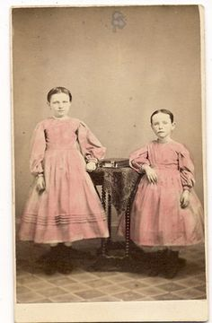 Sisters IN Pink Dresses W Photo Album ON Stand 1860s BY Bruner Greenville PA | eBay