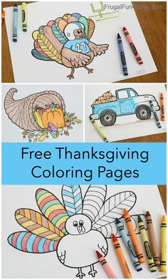 Printable Thanksgiving Coloring Pages - Free! There are 5 different designs to print. Turkey, truck, cornucopia, thankful page. Great Thanksgiving activity for kids! Free Thanksgiving Coloring Pages, Thanksgiving Activities For Kids, Christmas Coloring Pages, Printable Coloring Pages, Coloring For Kids, Coloring Pages For Kids, Stem Activities, Toddler Activities, Thankful Tree