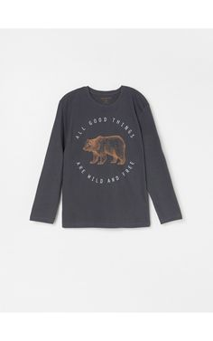 Koszulka Z Nadrukiem Koszulki Z Dlugim Rekawem Szary Reserved Boys T Shirts Graphic Sweatshirt Shirts