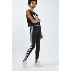 Three Stripe Leggings by Adidas Originals (€30) ❤ liked on Polyvore featuring pants, leggings, striped pants, jersey leggings, jersey pants, topshop pants and legging pants
