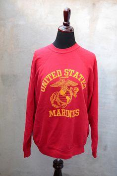 vintage UNITED STATES MARINES crew neck sweatshirt usmc military veteran 1980's size medium/ large. $18.00, via Etsy.