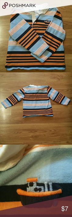 Little boys blue and orange long sleeve Blue and orange little boys lone sleeve shirt with vibrant colors.  Never worn in great condition with a little boat on the right as shown in picture! Shirts & Tops Tees - Long Sleeve