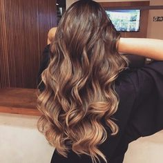 Beautiful long brown hair, chocolate brown, caramel low light, balayage, waves, wavy hair.