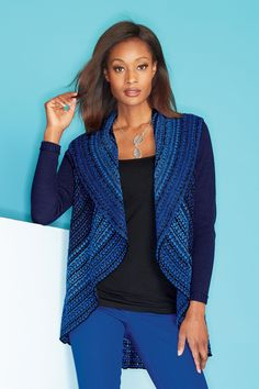 Love the blue design on this Shawl Collar Textured Sweater.  It's a bit of bold that would twin well with blue jeans and a black tee.