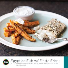 Egyptian Fish with Fiesta Fries Recipe Card Front