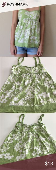 A&F Green Leis Floral Top Abercrombie & Fitch Green Cami Top! Size says it's L but i'm a S and fit just fine. As seen in picture. Abercrombie & Fitch Tops Tank Tops