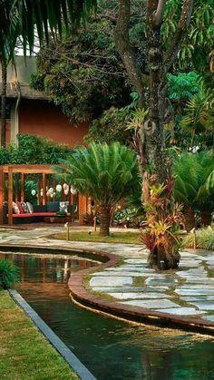Ponds Backyard, Garden Pool, Tropical Landscaping, Backyard Landscaping, Tropical Garden Design, Tropical Backyard, Back Gardens, Outdoor Gardens, Dream Garden