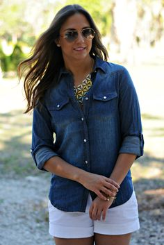 Classic Chambray button down roll sleeve shirt Shop Simply Me  - www.ShopSimplyMe.com  <3 this boutique!