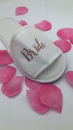7985e01170c9 Bridal Party Slippers   Bridesmaid Gifts   Rose Gold Slippers   Spa Slippers