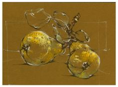 pastel, drawing, 2005, pears