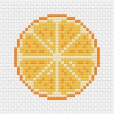 An other sliced fruit citrus pattern using the lemon cross stitch pattern from a few days back. You can find the pattern here Cat Cross Stitches, Cross Stitch Bookmarks, Cross Stitch Kits, Cross Stitch Charts, Cross Stitching, Cross Stitch Embroidery, Hand Embroidery, Embroidery Patterns, Cross Stitch Fruit