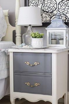 Bedroom makeover with updated vintage nightstand