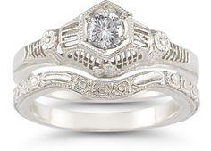 Vintage White Topaz Floral Ring Bridal Set in .925 Sterling Silver sterling silver ring settings