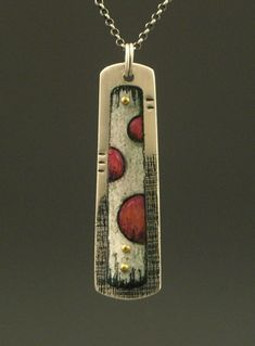 Metal Jewelry Deb Karash, Sterling silver, rivets and colored pencil on copper. Love the texture and whimsy. - Visit the post for more. Ceramic Jewelry, Enamel Jewelry, Copper Jewelry, Polymer Clay Jewelry, Modern Jewelry, Pendant Jewelry, Ruby Pendant, Sapphire Pendant, Jewelry Crafts