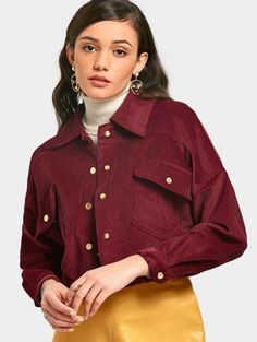 SHARE & Get it FREE | Snap Button Corduroy Cropped Jacket - Wine Red MFor Fashion Lovers only:80,000+ Items • New Arrivals Daily Join Zaful: Get YOUR $50 NOW!