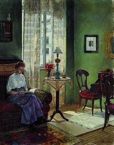 Atanasije Popovic (Bosnian,1885-1948) Интерьер с читающей женщиной