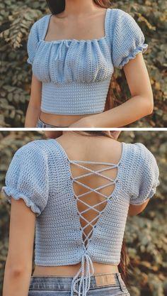 Diy Crochet Top, Mode Crochet, Crochet Blouse, Crochet Bikini, Crochet Summer, Crochet Clothes, Diy Clothes, Crochet Outfits, Crochet Top Outfit