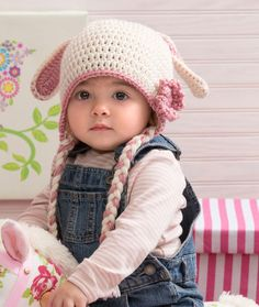 Sweet Bunny Hat Free Crochet Pattern from Red Heart Yarns ༺✿ƬⱤღ  http://www.pinterest.com/teretegui/✿༻