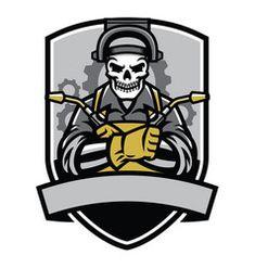 Skull welder badge vector Badge Design, Logo Design, Welding Logo, Welding Tattoo, Illustrator Ai, Turkey Cartoon, Knight Logo, Cute Black Wallpaper, Flag Painting