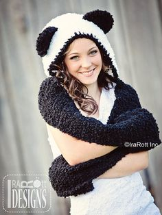 PATTERN Panda Bear Hood with Scarf and Paws Crochet PDF