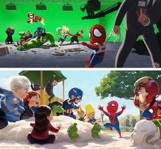Avengers movie-No, no, no Spidey you can't com in the Avengers movie. Captain America Civil War-Oke Spidey just 1 more time.