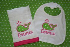 Personalized Pink and Green Whale Burp Cloth and by SewciallyChic, $20.00