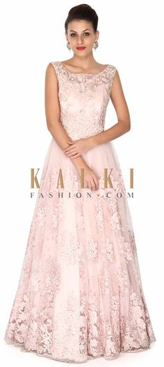 Buy this Baby pink gown adorn in floral motif embroidery only on Kalki