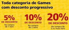 Desconto de 5% em 1 jogo. 10% em 2 ou 20% de desconto em 3 ou mais jogos.