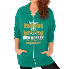 IM NOT IGIronworker Zip Hoodie (on woman)