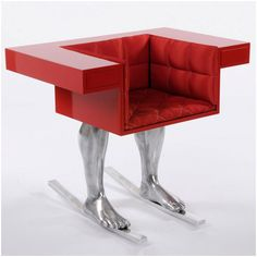 those who prefer to ski without actually leaving their armchair, this chair by the Austrian designer David Pompa provides the perfect solution.  Visit his website for more whacky adventures www.woohome.com/furniture/david-pompas-office-furniture-surreal-minimalism/1756